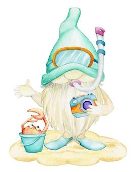 Un gnome, en palmes et masque, pour la plongée sous-marine, tient un appareil photo, un seau, un crabe.