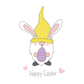 Gnome de pâques gnome de lapin de pâques avec des oreilles de lapin style de bande dessinée joyeuses pâques