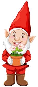 Gnome avec pot en personnage de dessin animé sur fond blanc