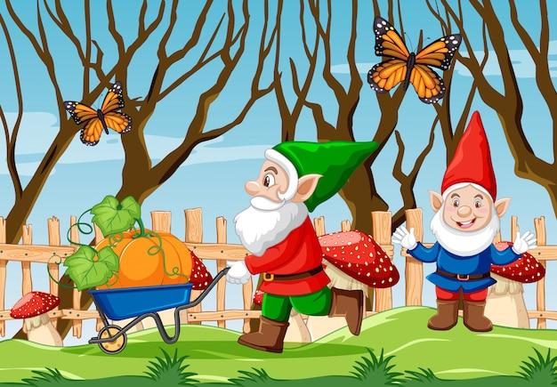 Gnome poussant le chariot de citrouille et le papillon dans la scène de style dessin animé du jardin