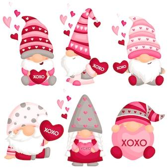 Gnome de la saint-valentin avec coussin d'amour