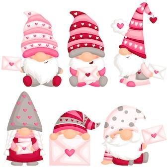 Gnome de la saint-valentin avec lettre d'amour
