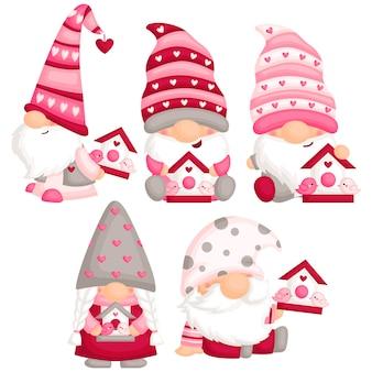 Gnome de la saint-valentin avec love bird house