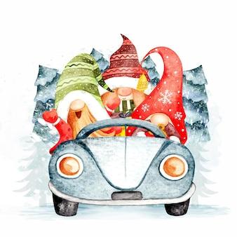 Gnomes d'aquarelle montant la voiture avec l'arbre de noël