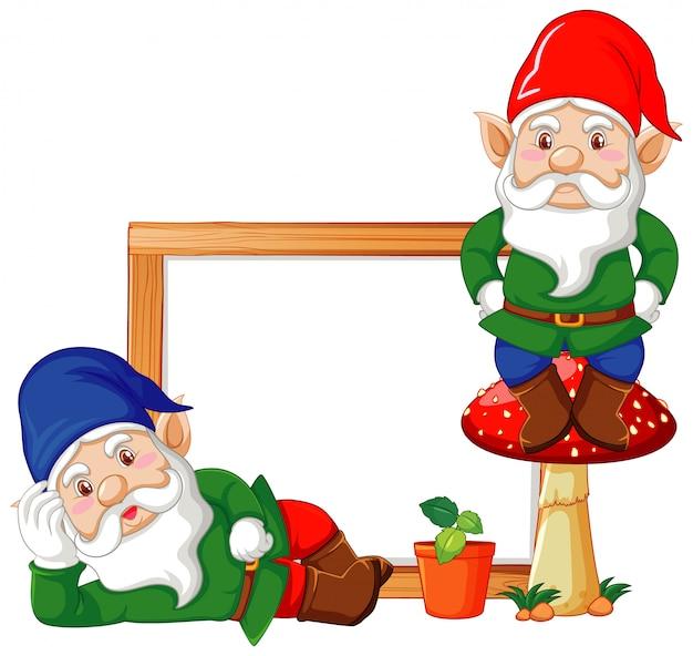 Gnomes avec bannière vierge en personnage de dessin animé sur fond blanc