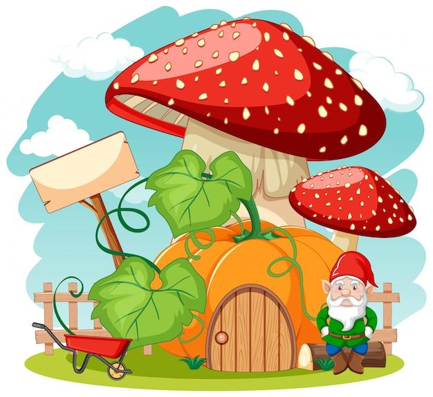 Gnomes et citrouille champignon maison style cartoon sur fond blanc