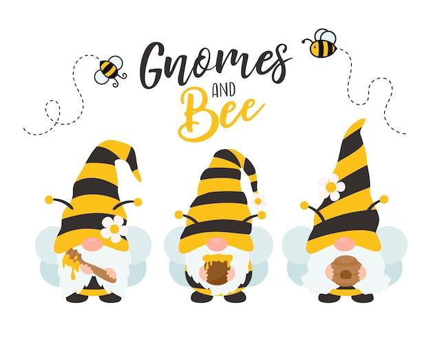 Gnomes de dessin animé portant un costume d'abeille noir jaune tenant du miel sucré