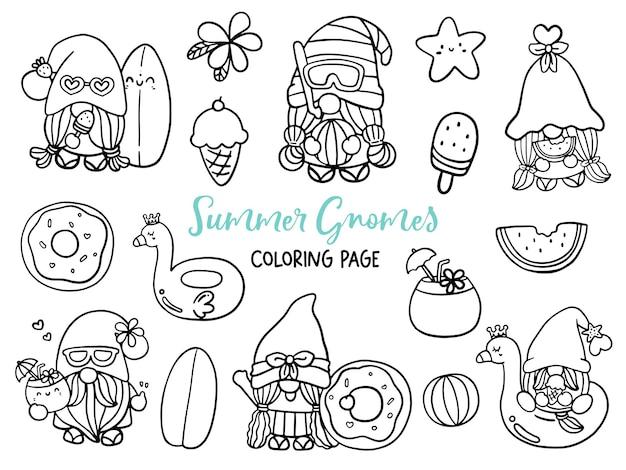 Gnomes d'été doodle coloriage gnome d'été