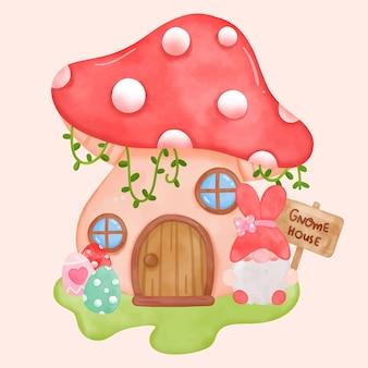 Gnomes house aquarelle et gnome avec dessin animé kawaii oeufs de pâques