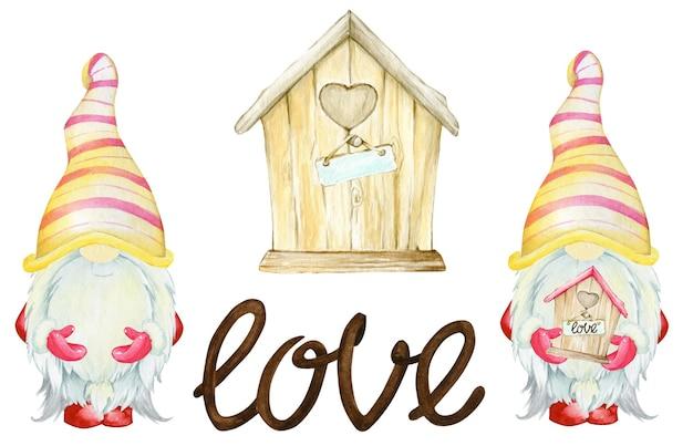 Gnomes, maison en bois, le mot amour. jeu d'aquarelle, clipart, en style cartoon