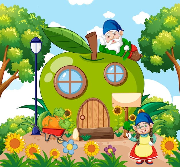 Gnomes et maison de pomme verte et dans le style de dessin animé de jardin sur fond de ciel