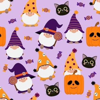 Gnomes mignons en costume d'halloween candy cat et modèle sans couture de citrouille orange