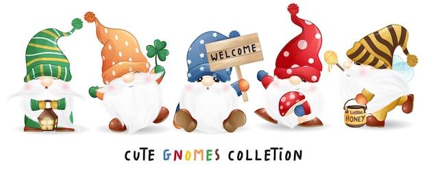 Gnomes mignons dans un ensemble d'illustrations de style aquarelle