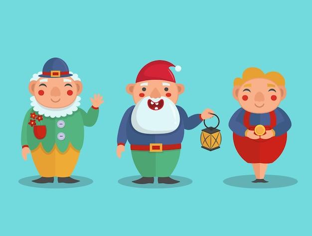 Gnomes mignons dans un style plat, illustration vectorielle.