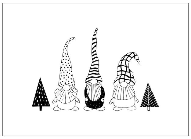 Gnomes mignons de personnages de griffonnage dessinés à la main
