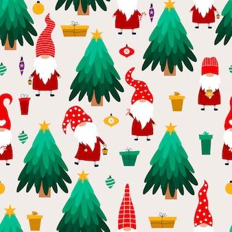 Gnomes de noël et arbre de noël. motif dessiné à la main