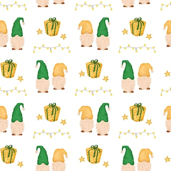 Gnomes de noël avec modèle sans couture de cadeaux
