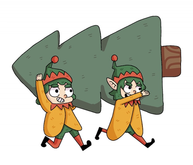 Gnomes de noël soulevant un arbre de noël
