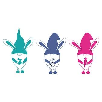 Gnomes de pâques gnomes de lapin de pâques joyeuses pâques