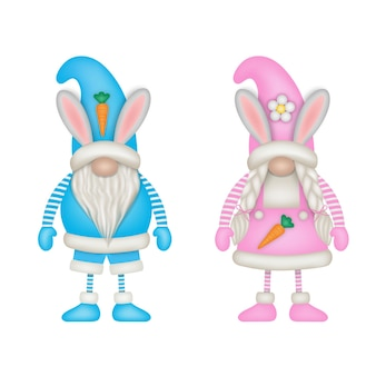 Gnomes de pâques mâles et femelles