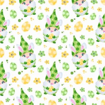 Gnomes de pâques mignons avec motif sans couture d'oreilles de lapin