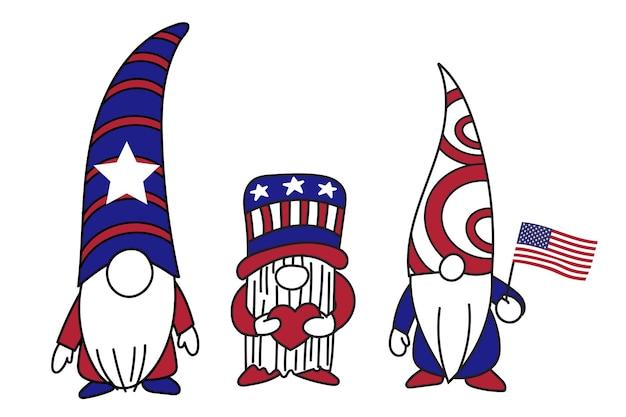 Gnomes patriotiques gnomes du 4 juillet, joyeux jour de l'indépendance, illustration vectorielle