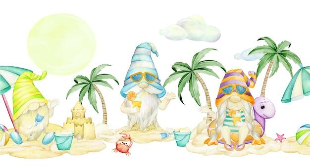 Gnomes, sur la plage, aquarelle transparente motif, sur un fond isolé.