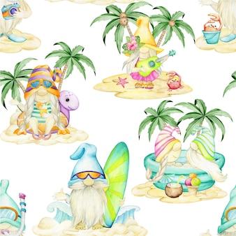 Gnomes, sur la plage, modèle sans couture aquarelle.