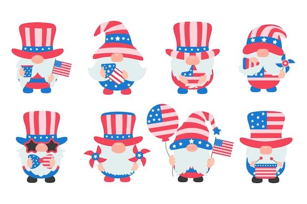 Les gnomes portaient un costume de drapeau américain pour célébrer le jour de l'indépendance.
