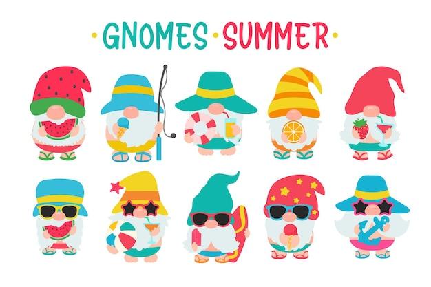 Les gnomes portent des chapeaux et des lunettes de soleil pour l'été