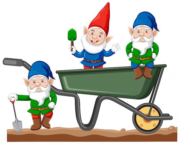 Gnomes avec style de bande dessinée de chariot de transport sur fond blanc