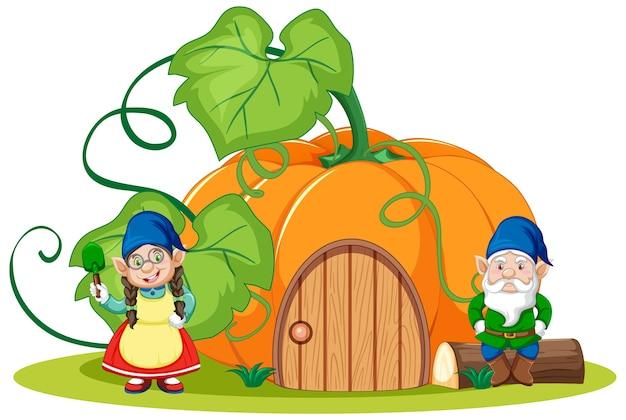 Gnomes et style de dessin animé de maison de citrouille