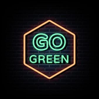 Go green logo néon signes texte