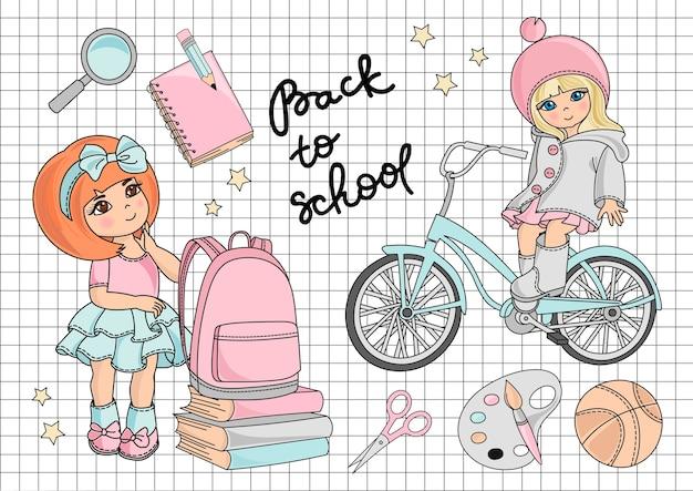 Go to school vector illustration set
