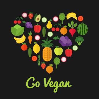 Go vegan concept d'aliments sains