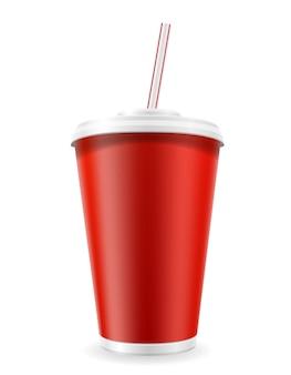 Gobelet En Papier Pour Soda Sur Blanc Vecteur Premium