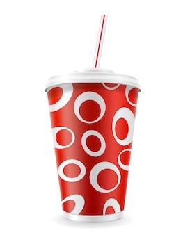 Gobelet en papier pour soda sur blanc
