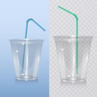 Gobelet en plastique réaliste pour milkshake, limonade et smoothie.