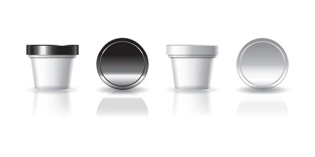 Gobelet rond cosmétique ou alimentaire blanc avec couvercle noir et blanc pour produit de beauté, sain ou alimentaire.