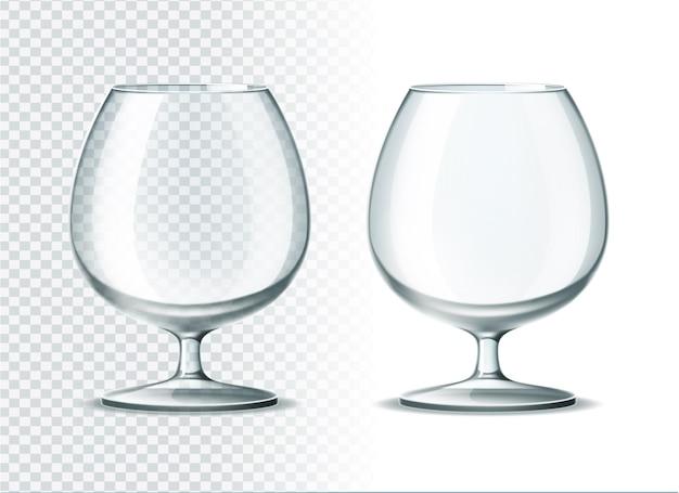 Gobelet en verre cognac cognac réaliste ensemble de verres à boissons spiritueux réalistes