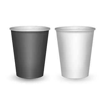 Gobelets en papier noir et blanc isolés