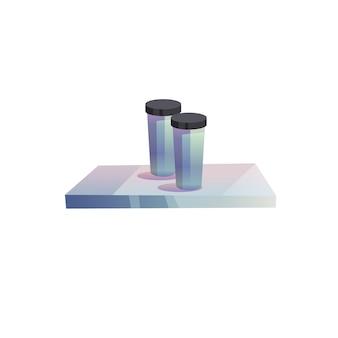 Gobelets en plastique de dessin animé de vecteur sur plateau isolés sur fond vide-rue, concept de restauration rapide et de vaisselle de café, conception d'annonce de bannière de site web