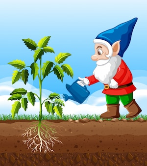 Gobelin arrosant la position de l'arbre en personnage de dessin animé sur fond blanc