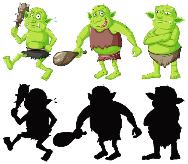 Gobelin ou troll tenant l'outil de chasse en couleur et silhouette en personnage de dessin animé sur fond blanc