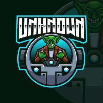 Goblin ride planes mascot gaming logo template pour esports streamer facebook youtube