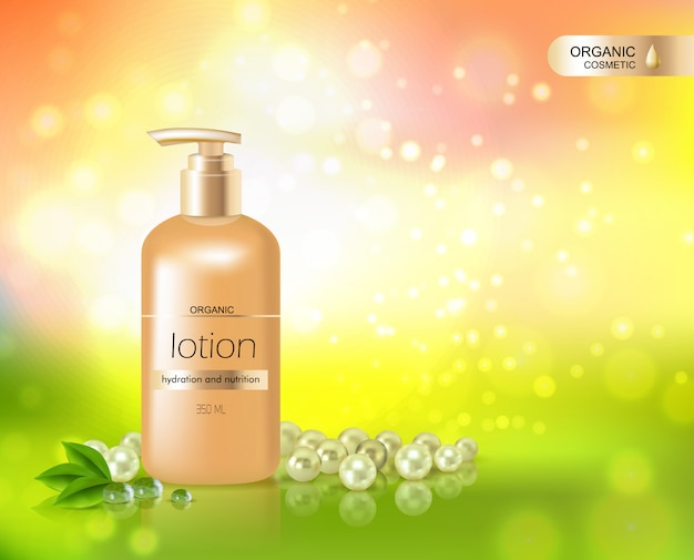 Gold bottle of lotion pour l'hydratation de la peau