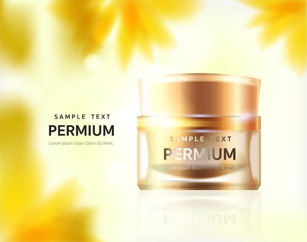 Gold cosmetics, crème pour le visage et la beauté. illustration de réaliste