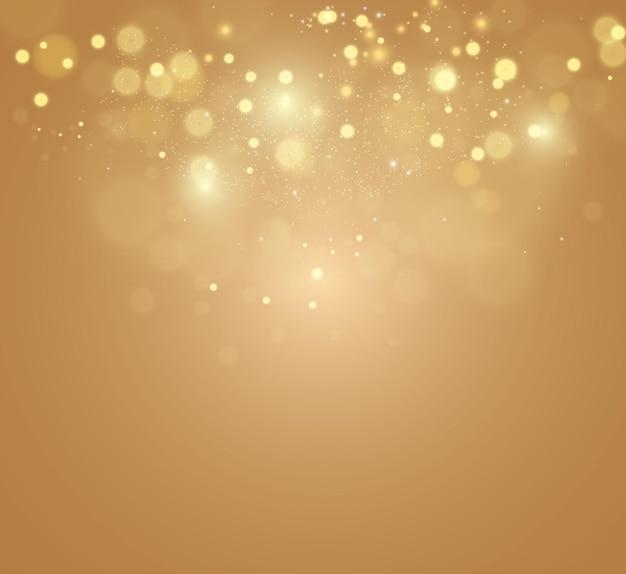 Gold sparkles, bokeh de lumière vive.