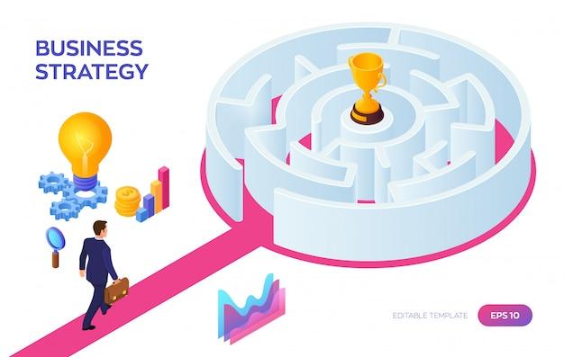 Gold trophy cup du gagnant dans le labyrinthe. homme d'affaires marchant vers le succès à travers le labyrinthe.
