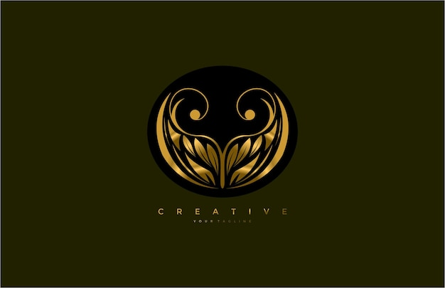 Golden beauty flourishes logo arrondi